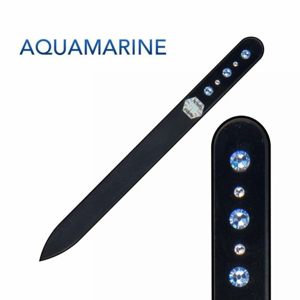 AQUAMARINE Crystal Nail File Black Long by Blazek title