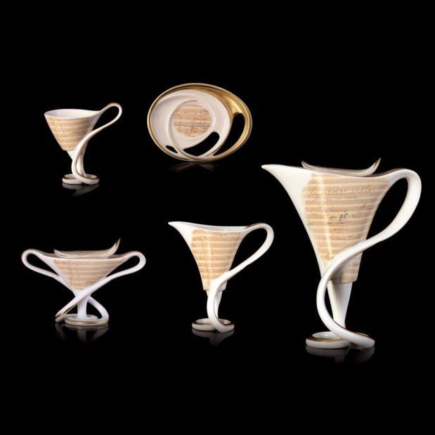 Antonin Dvorak Porcelain Coffee Set Limited Edition Crystallo by Thun Studio montage