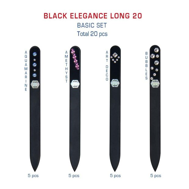 BLACK ELEGANCE Long 20 Set Crystal Nail File by Blazek detail