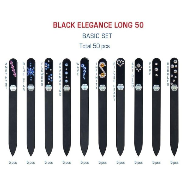 BLACK ELEGANCE Long 50 Set Crystal Nail File by Blazek detail
