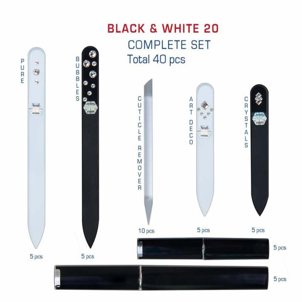 BLACK WHITE 20 Complete Set Crystal Nail File by Blazek detail