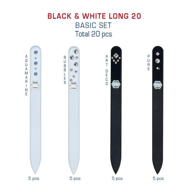 BLACK WHITE Long 20 Set Crystal Nail File by Blazek detail
