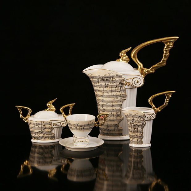 Beethoven Porcelain Coffee Set Limited Edition Crystallo by Thun Studio