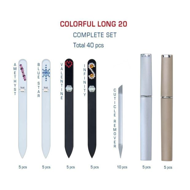 COLORFUL Long 20 Complete Set Crystal Nail File by Blazek detail