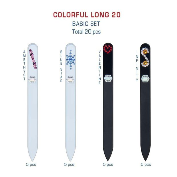 COLORFUL Long 20 Set Crystal Nail File by Blazek detail