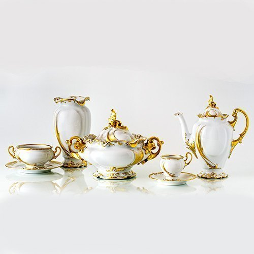 Dinnerware Porcelain Imperial Set with Gold Crystallo by Thun Studio 400 214@0.5x