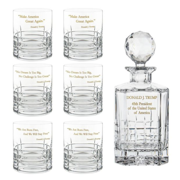 Donald Trump Presidency Decanter Whiskey Glasses Gilded Set 7pcs Crystallo