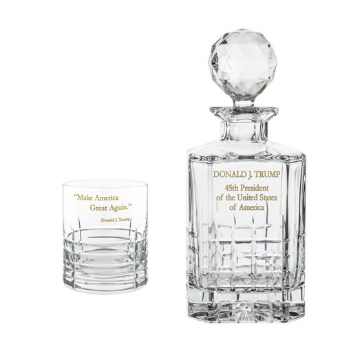 Donald Trump Presidency Decanter Whiskey Glasses Gilded Set Title Crystallo@0.5x