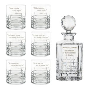 Donald Trump Presidency Decanter Whiskey Glasses Set 7pcs Crystallo