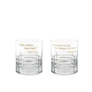 Donald Trump Presidency Whiskey Glasses Gilded Set Pair Crystallo