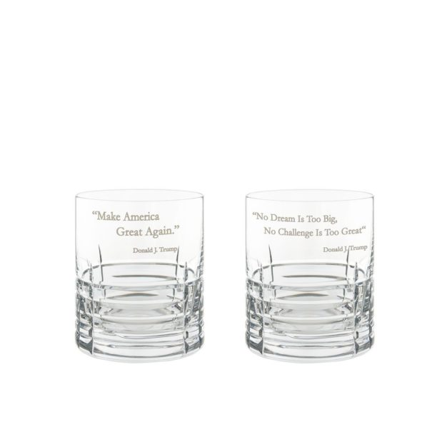 Donald Trump Presidency Whiskey Glasses Set Pair Crystallo