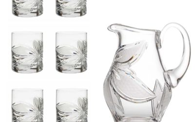 PUNCH SET – Cut Crystal Pitcher & Old Fashioned Glasses Boho Orchidea