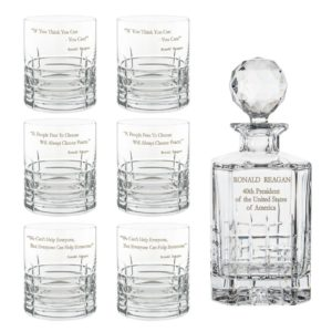 Ronald Reagan Presidency Decanter Whiskey Glasses Set 7pcs Crystallo