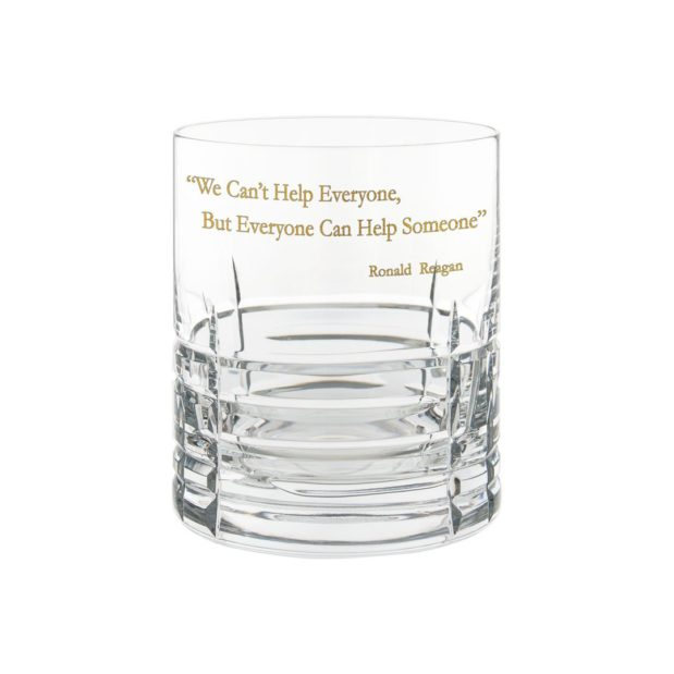 Ronald Reagan Presidency Whiskey Glass HELP Gilded Crystallo