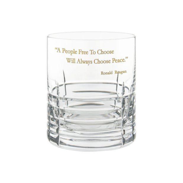 Ronald Reagan Presidency Whiskey Glass PEACE Gilded Crystallo