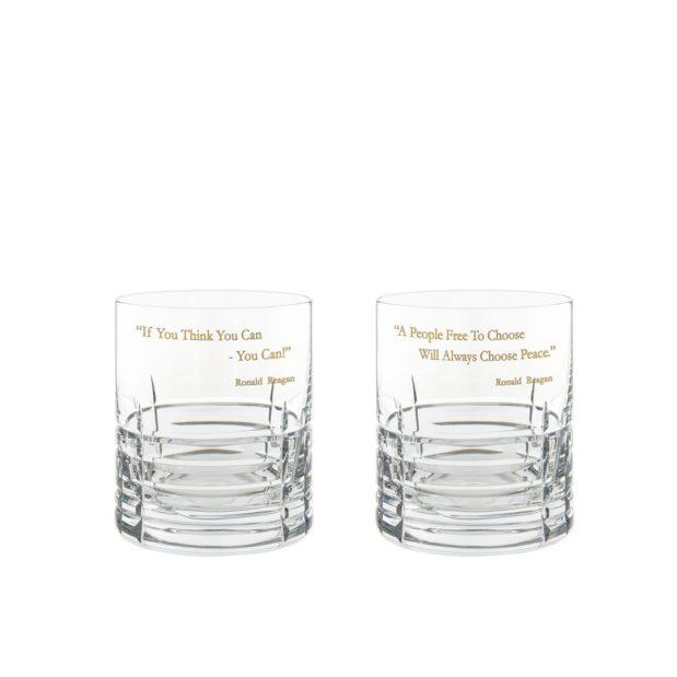 Ronald Reagan Presidency Whiskey Glasses Gilded Set Pair Crystallo