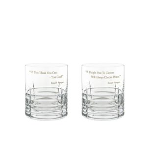 Ronald Reagan Presidency Whiskey Glasses Set Pair Crystallo