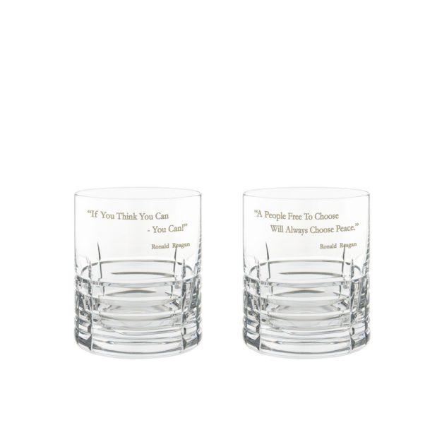 Ronald Reagan Presidency Whiskey Glasses Set Pair Crystallo