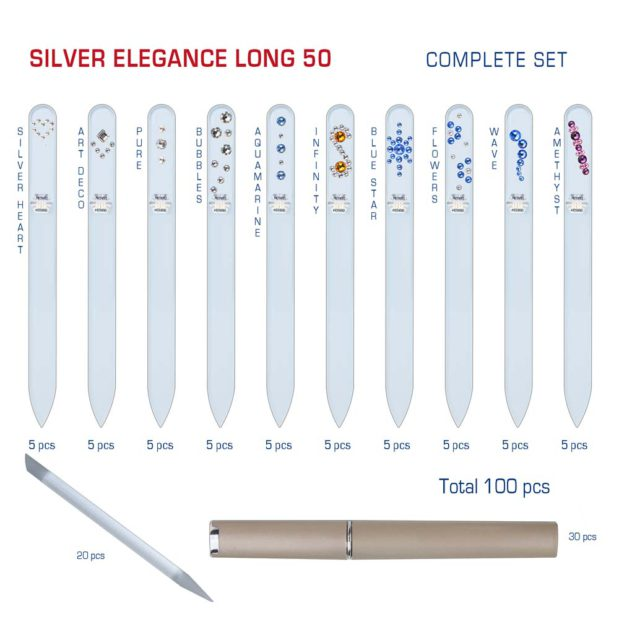 SILVER ELEGANCE Long 50 Complete Set Crystal Nail File by Blazek detail