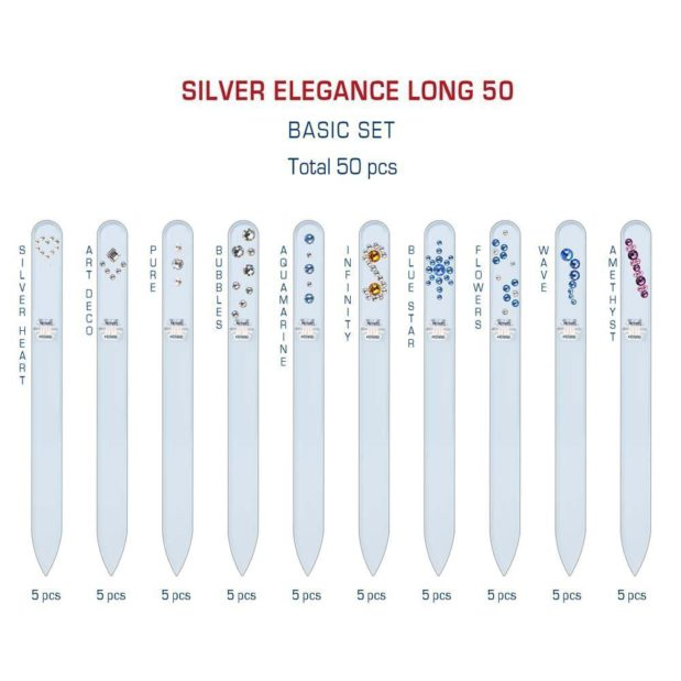 SILVER ELEGANCE Long 50 Set Crystal Nail File by Blazek detail