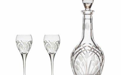 AFTER DINNER SET – Cut Crystal Decanter & Cordial Glasses Art Deco Set of 3