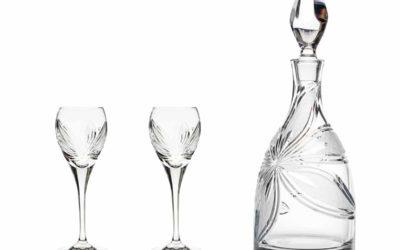AFTER DINNER SET – Cut Crystal Decanter & Cordial Glasses Orchidea Set of 3
