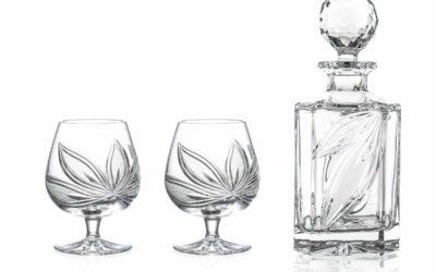 BRANDY SET – Cut Crystal Brandy Decanter & Brandy Glasses Orchidea Set of 3