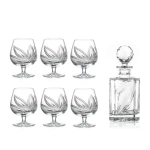 brandy decanter set crystal square decanter brandy glasses orchidea floral Crystallo BG906OR 7