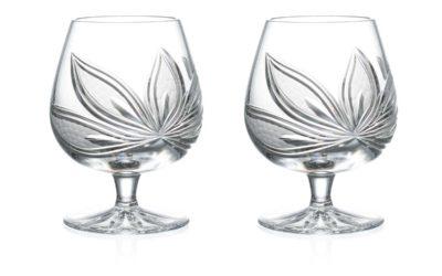 Cut Crystal Brandy Glasses Set Orchidea Set of 2