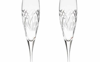 Cut Crystal Champagne Flutes Art Deco Set of 2