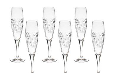 Cut Crystal Champagne Flutes Art Deco Set of 6