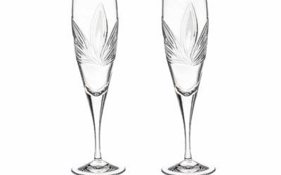 Wedding Personalized Cut Crystal Champagne Flutes Orchidea Set of 2