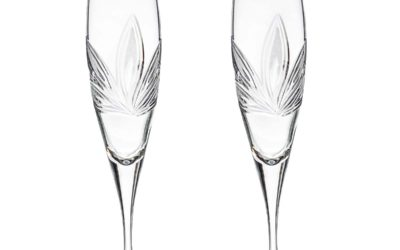 Cut Crystal Champagne Flutes Orchidea Set of 2