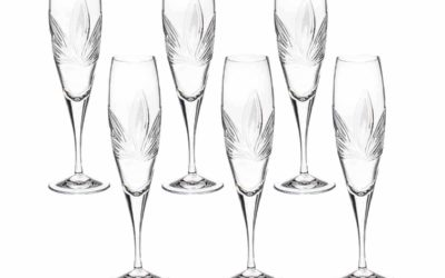 Cut Crystal Champagne Flutes Orchidea Set of 6