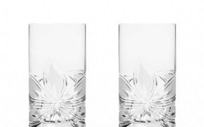 Cut Crystal Highball Glasses Set Boho Orchidea Set of 2