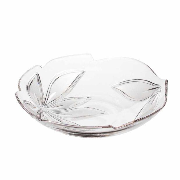 crystal large flat bowl orchidea floral Crystallo BG211OR B