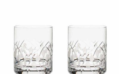 Cut Crystal Whiskey Glasses Set Art Deco Nostalgia Set of 2