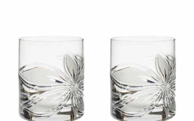 Cut Crystal Whiskey Glasses Set Boho Orchidea Set of 2