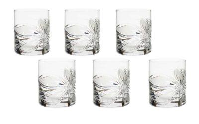 Cut Crystal Whiskey Glasses Set Boho Orchidea Set of 6