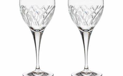 Cut Crystal Red Wine Glasses Set Art Deco Nostalgia Set of 2