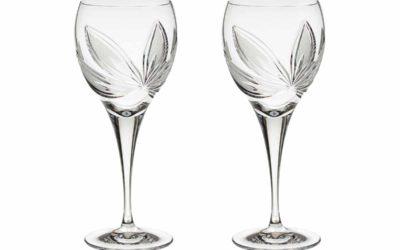 Cut Crystal Red Wine Glasses Set Boho Orchidea Set of 2