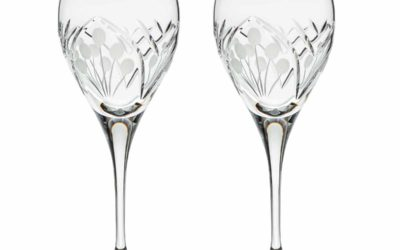 Cut Crystal Red Wine Goblet Set Art Deco Nostalgia Set of 2