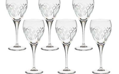 Cut Crystal Red Wine Goblet Set Art Deco Nostalgia Set of 6