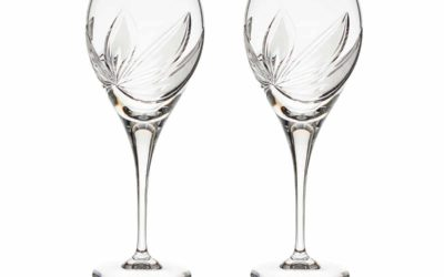 Cut Crystal Red Wine Goblet Set Boho Orchidea Set of 2