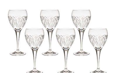 Cut Crystal White Wine Glasses Set Art Deco Nostalgia Set of 6