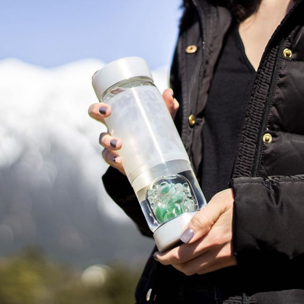 gemstone Via bottle on the mountain in cover SLEEVE