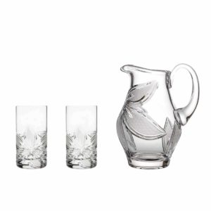 home made lemonade set crystal elegant pitcher highball glasses orchidea floral Crystallo BG907OR
