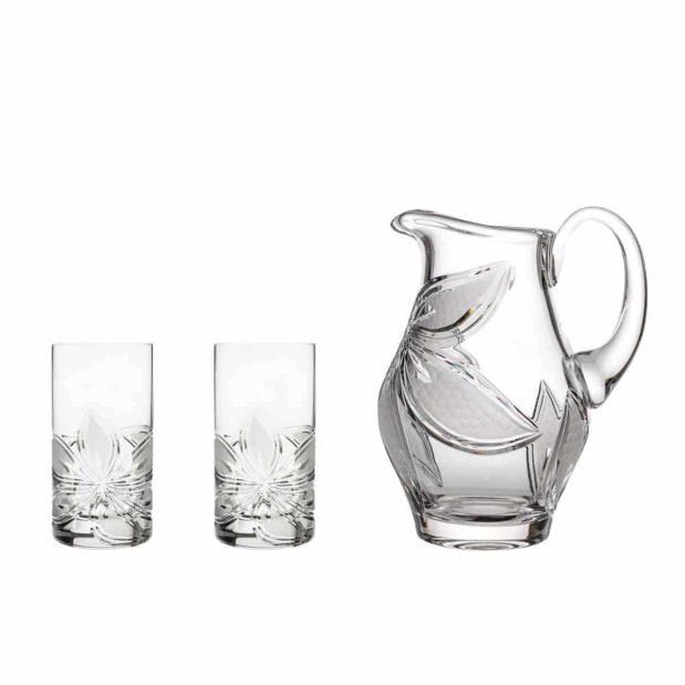 home made lemonade set crystal elegant pitcher highball glasses orchidea floral Crystallo BG907OR