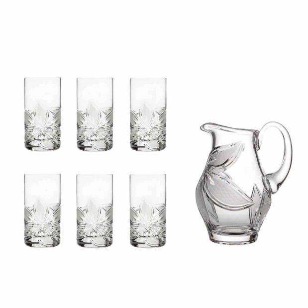 home made lemonade set crystal elegant pitcher highball glasses orchidea floral Crystallo BG907OR 7