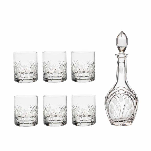liquor decanter set crystal brandy decanter old fashioned glasses nostalgia art deco Crystallo BG902NS 7
